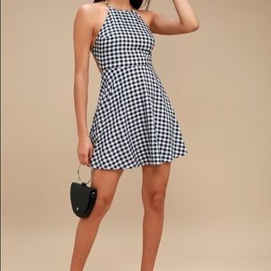 gingham lace skater dress. NEW w/ tags, never worn
